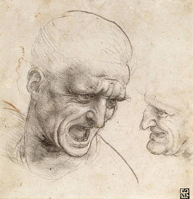 Study Of Two Warriors' Heads For The Battle Of Anghiari Poster by Leonardo da Vinci