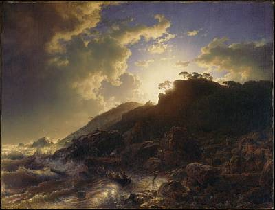 Sunset After A Storm On The Coast Of Sicily Poster by Andreas Achenbach