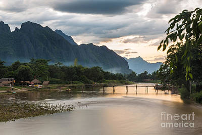 Sunset Over Vang Vieng River In Laos Poster