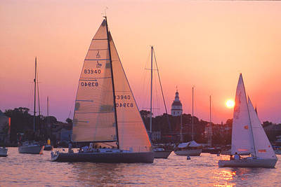 Sunset Sail Poster by Paul Pobiak