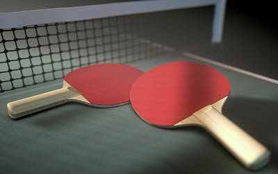 Table Tennis Table And Paddles Poster by Allan Swart