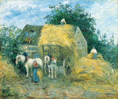 The Hay Cart. Montfoucault Poster by Camille Pissarro