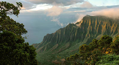 Poster featuring the photograph Napali Coast Sunset by Stephen  Vecchiotti