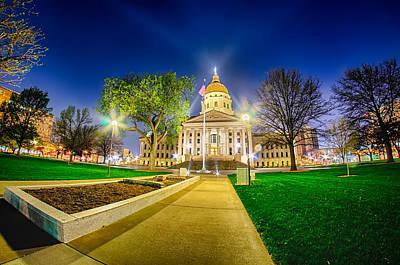 Topeka Kansas Downtown At Night Poster