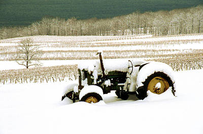 Tractor In Snowy Vineyard Poster