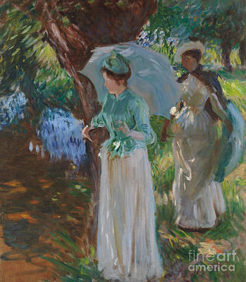 Two Girls With Parasols Poster by John Singer Sargent
