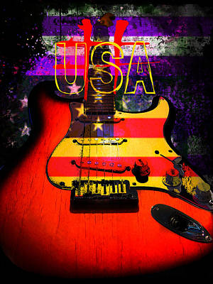 Red Usa Flag Guitar  Poster