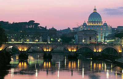 Vatican Skyline  View Of St Peters Basilica In The Evening Poster by Italian School