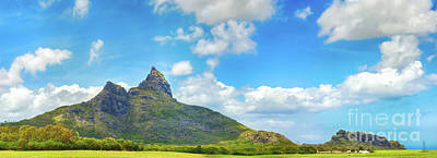 View Of A Lake And Mountains. Mauritius. Panorama Poster