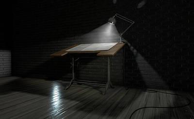 Vintage Desk And Lamp  Poster by Allan Swart