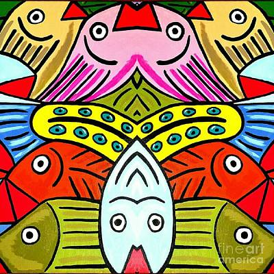 Whimsical Colorful Fish Poster by Scott D Van Osdol