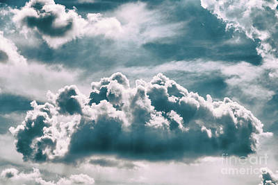 White Cumulus Clouds On Blue Sky Poster