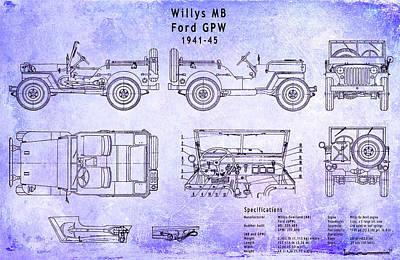 Willys Jeep Blueprint Poster by Jon Neidert