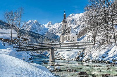 Winter Landscape In The Bavarian Alps With Church, Ramsau, Germa Poster by JR Photography