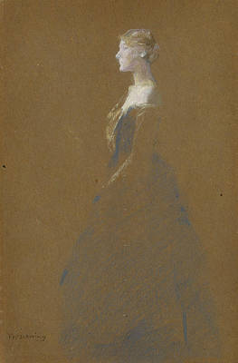 Woman In A Blue Dress Poster by Thomas Wilmer Dewing