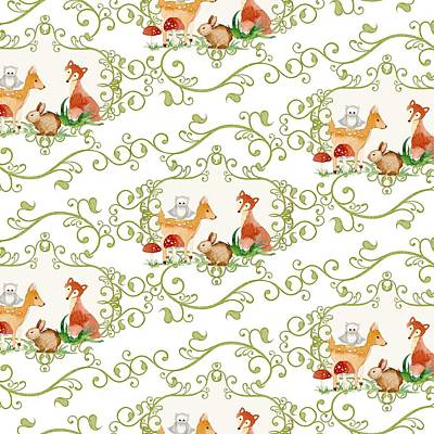 Woodland Fairytale - Animals Deer Owl Fox Bunny N Mushrooms Poster