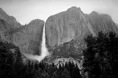 Yosemite Falls Vertical B And W Poster