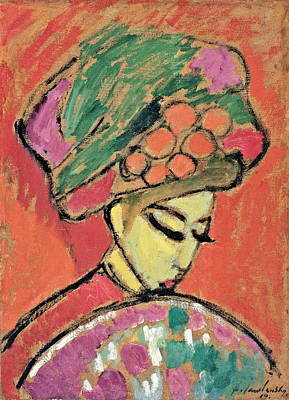 Young Girl With A Flowered Hat Poster by Alexei Jawlensky