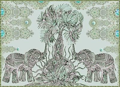 Elephants  Poster by Sandrine Kespi