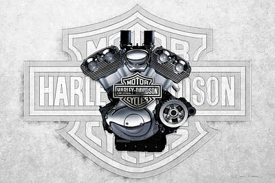 Poster featuring the digital art 2002 Harley-davidson Revolution Engine With 3d Badge  by Serge Averbukh