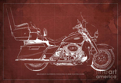 2006 Harley Davidson Cvo Ultra Classic Electra Glide Blueprint Red Background Poster by Pablo Franchi