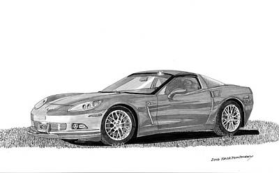 Corvette Roadster, Silver Ghost Poster by Jack Pumphrey