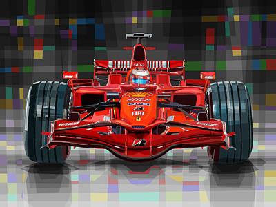 2008 Ferrari F1 Racing Car Kimi Raikkonen Poster by Yuriy Shevchuk