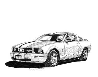 White Mustang Fastback Poster by Jack Pumphrey