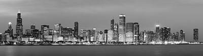 2010 Chicago Skyline Black And White Poster by Donald Schwartz