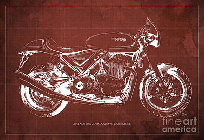 2012 Norton Commando 961 Cafe Racer Motorcycle Blueprint - Red Background Poster