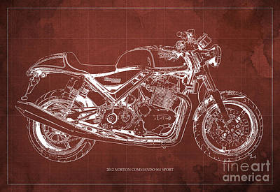2012 Norton Commando 961 Sport Blueprint Classic Motorcycle Red Background Poster