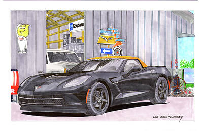 Poster featuring the painting 2014 Corvette And Man Cave Garage by Jack Pumphrey