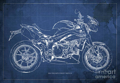 2014 Triumph Street Triple R, Motorcycle Blueprint For Man Cave, Blue Background Poster by Pablo Franchi