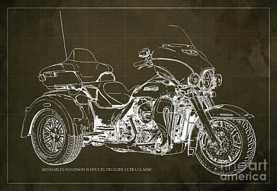 2015 Harley-davidson Flhtcutg Tri Glide Ultra Classic Blueprint Brown Background Poster by Pablo Franchi