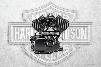Poster featuring the digital art 2015 Harley-davidson Street-xg750 Engine With 3d Badge  by Serge Averbukh