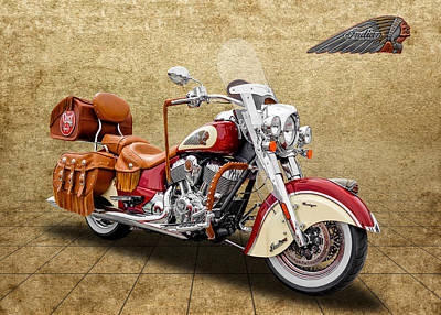 2015 Indian Chief Vintage Motorcycle - 1 Poster by Frank J Benz