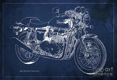 2015 Triumph Thruxton Blueprint Blue Background Poster