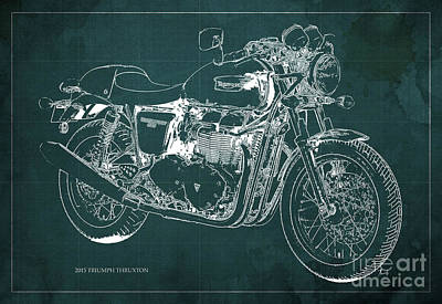 2015 Triumph Thruxton Blueprint Green Background Poster by Pablo Franchi