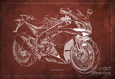 2016 Aprilia Rsv4 Rf Motorcycle Blueprint, Red Background Poster by Pablo Franchi