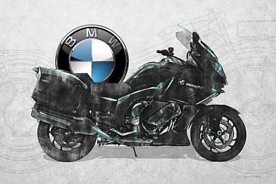 Poster featuring the digital art 2016 Bmw-k1600gt Motorcycle With 3d Badge Over Vintage Blueprint  by Serge Averbukh