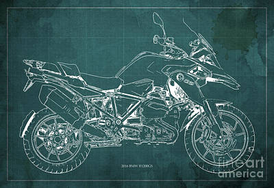 2016 Bmw R1200gs Blueprint Green Background Poster by Pablo Franchi