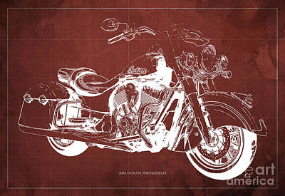 2016 Indian Springfield Motorcycle Blueprint Red Background  Poster by Pablo Franchi