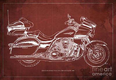 2016 Kawasaki Vulcan 1700 Voyager Abs  Blueprint  Red Background Poster by Pablo Franchi