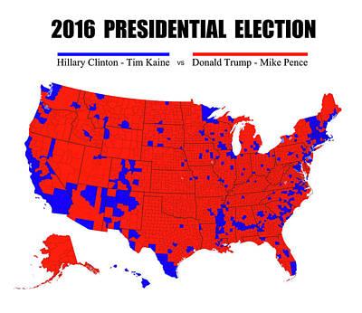 2016 Trump - Pence Vs Clinton - Kaine Election Map - No Border Poster