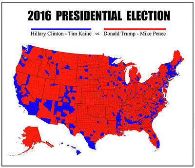 2016 Trump - Pence Vs Clinton - Kaine Election Map - Pinline Border Poster by Daniel Hagerman