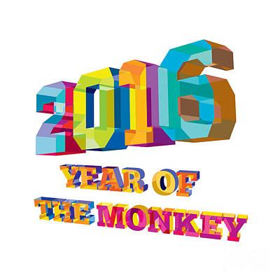 2016 Year Of The Monkey Low Polygon Poster by Aloysius Patrimonio