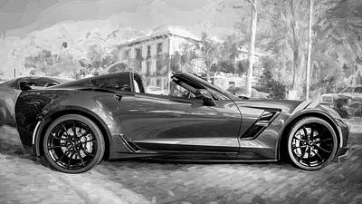 Poster featuring the photograph 2017 Chevrolet Corvette Gran Sport Bw by Rich Franco