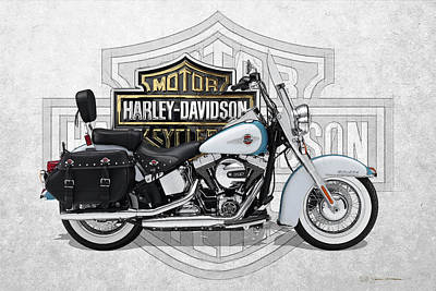Poster featuring the digital art 2017 Harley-davidson Heritage Softail Classic  Motorcycle With 3d Badge Over Vintage Background  by Serge Averbukh