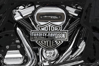 Poster featuring the digital art 2017 Harley-davidson Screamin' Eagle Milwaukee-eight 114 Engine With 3d Badge by Serge Averbukh