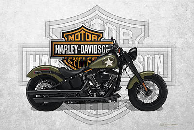 Poster featuring the digital art 2017 Harley-davidson Softail Slim S Motorcycle With 3d Badge Over Vintage Background  by Serge Averbukh